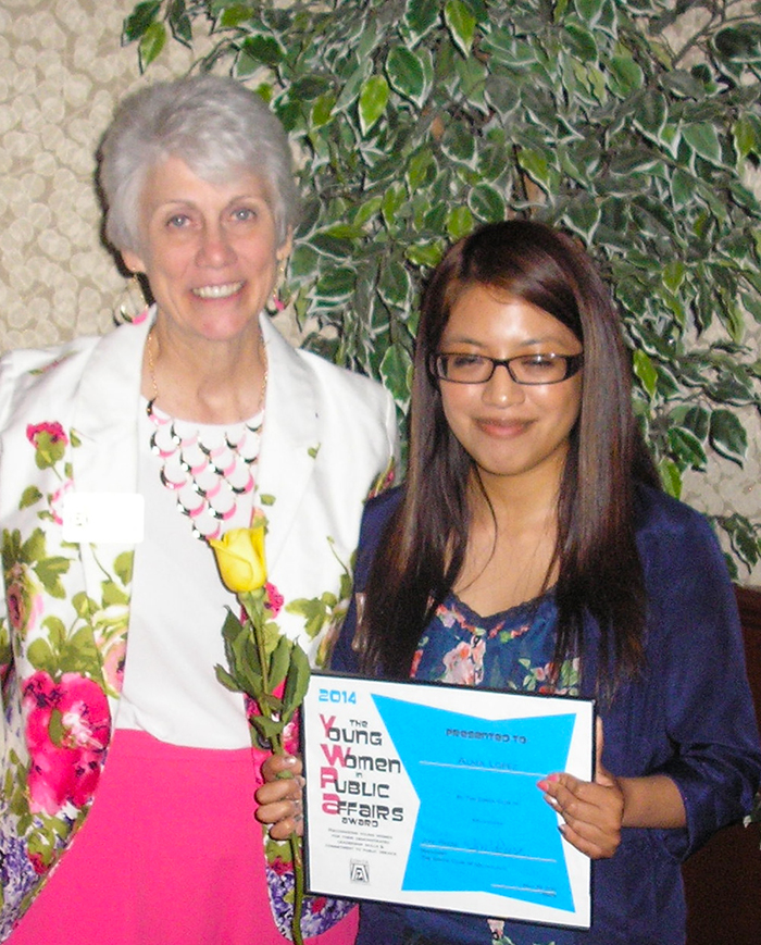 Alma Lopez, 2014 recipient of the Young Women in Public Affairs Scholarship with Missy Creevy